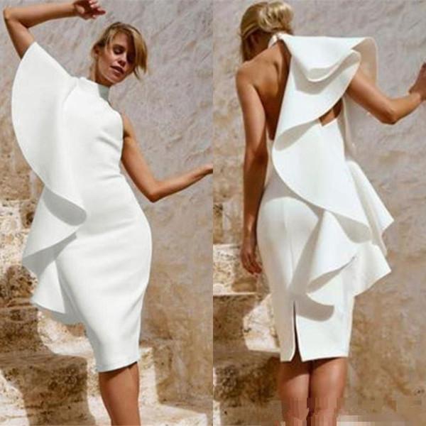 Volantes de moda árabe Vestidos de cóctel blancos Corte a la altura de la rodilla Vaina de cuello alto sexy Vestidos de fiesta de noche Corto Vestido de fiesta de mujer bonita