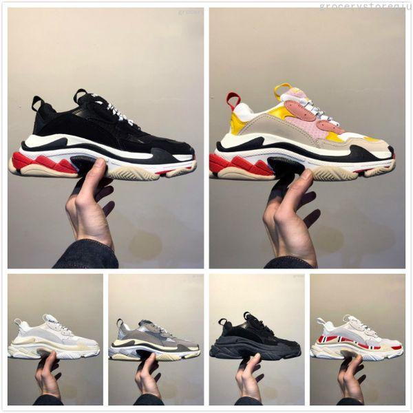 2019 Chaussures Paris Casual Chaussures de luxe Chaussures de luxe 17FW Triple-S Papa pour Hommes Femmes Beige Noir Ceahp Sports Designer Triple S Chaussures Taille 36-45