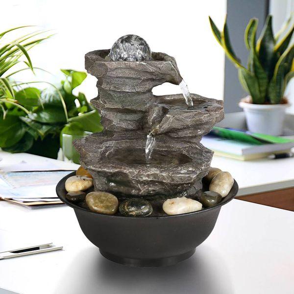 Fontane Zen Vendita.Acquista Fontana Zen Da Tavolo A 3 Livelli Da 11 4 Con Sfera Di Cristallo La Decorazione Degli Interni A 33 16 Dal Ouluck Dhgate Com