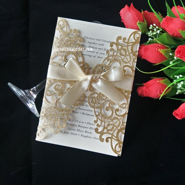 2019 Luxury Glitter Laser Cut Wedding Invitations Cards with Champagne Bowknot, Floral Anniversary Evening Invite with Envelope Free Ship