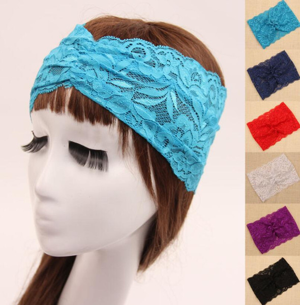 New lace Womens Turban Crochet Lace Knit Hoop Wide Stretch Headband Hair Band Ladies head wraps