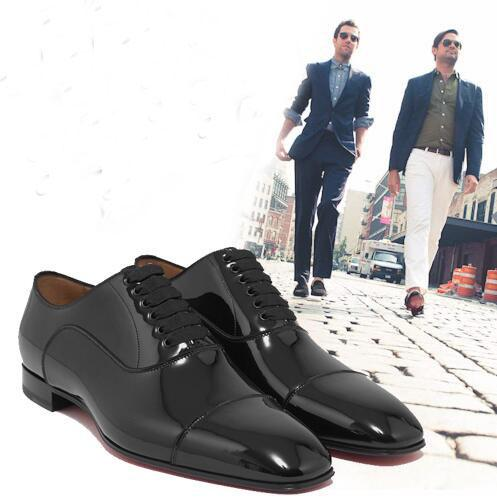brand new 09103 a64f2 Fashion Dress Party Wedding Designer Gentleman Greggo Flat Men Loafers  Black Patent Leather Red Bottom Perfect Oxford Walking EU35 46 Mens Boat  Shoes ...