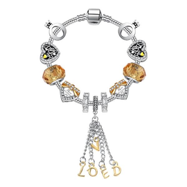 17-21 CM Nueva Moda AMOR colgante del brazalete de plata 925 Charm Bead Accesorios pulseras Diy Joyería de la boda Regalo de San Valentín con caja