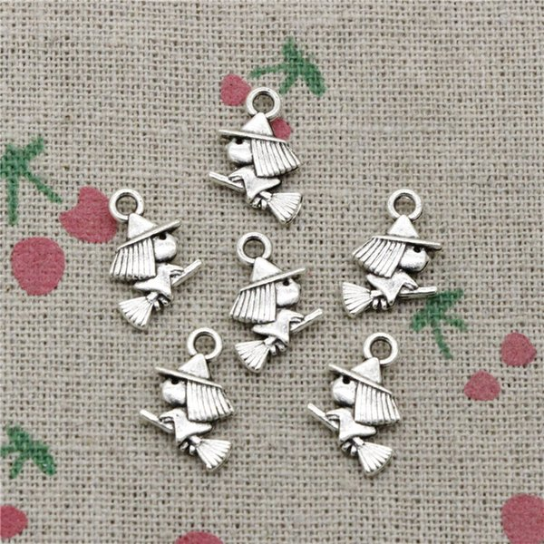 163pcs Charms cute witch riding broomstick halloween 16*12mm Tibetan Silver Vintage Pendants For Jewelry Making DIY Bracelet Necklace