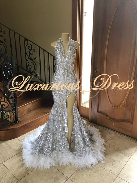 2019 New Design Luxury Silver Halter Feather Side Split Mermaid Prom Dresses Sequins Formal Evening Gowns Party Pageant Graduation Dresses