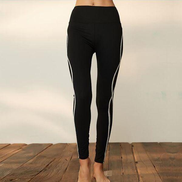 Leggings Tight Venta Caliente de Cintura Alta Lateral de Malla Costura Transpirable de Secado rápido Negro Mujeres Casual Fitness Yoga Pantalones