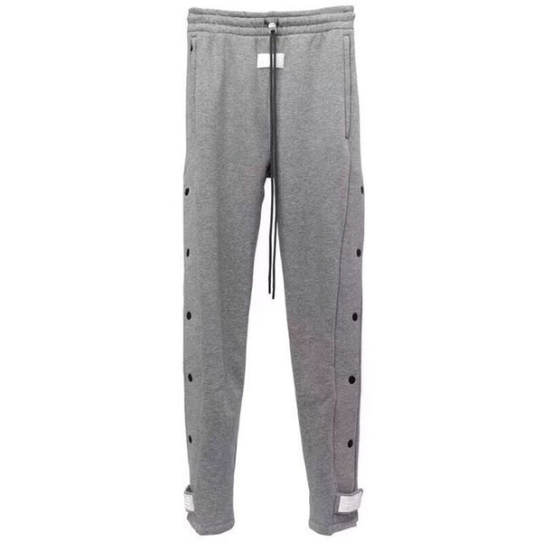 best selling 19FW Latest TOP High Street Hip-hop Rap FG fog style Loose button Magic sticky PANTS Leisure Sweatpants Cotton Solid color