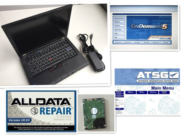 Auto repair soft-ware alldata and m.itchell v10.53 all data 2015 m.itchell atsg 3in1 hdd installed in diagnostic laptop t410 4g used