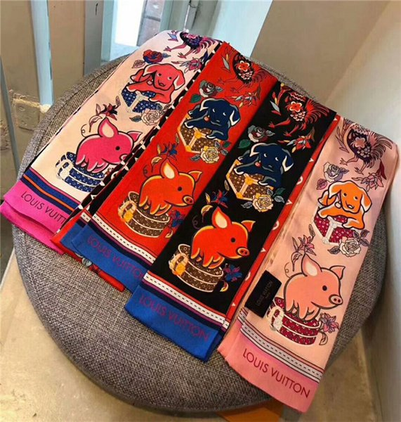 foulards de soie en gros délicat imprimé floral foulards en soie mode hommes et femmes bande de cheveux sacs à main sac bande décorative