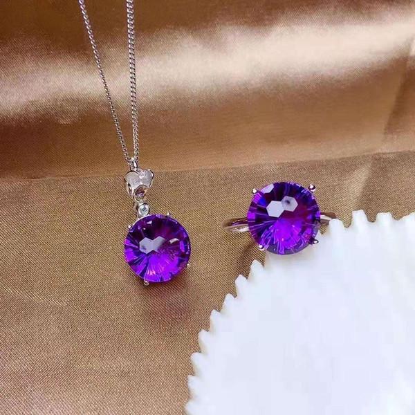 Los fuegos artificiales de cristal violeta S925 plata anillo colgante conjunto simple y de moda para los regalos
