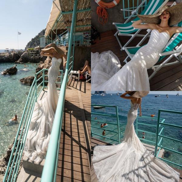Inbal Dror Mermaid Gelinlik 2019 Romantik Sevgiliye Dantel Sequins Yaz Gelinlikler Exposed Boning Sweep Tren Gelinlik