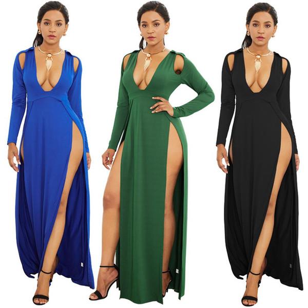 Plus Size Maxi Dress Women Party Clothes 2019 Deep V-neck High Slit Beach Dresses Long Sleeve Sexy Club Dress