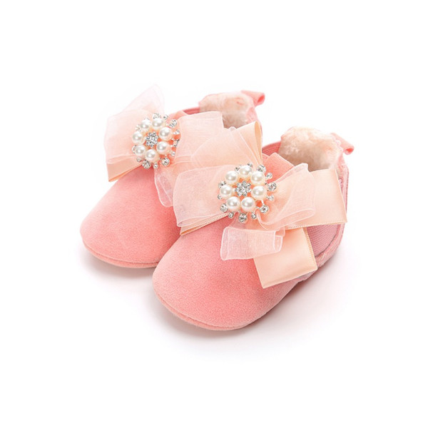 Newborn Baby Girl Winter PU Bow Flower Design Home Walking Boots Casual Shoes Hot New Cute Non-slip Soft Sole Shoes