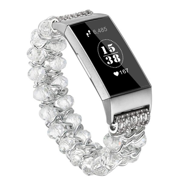 9417076604c79a For Fitbit Charge 3 Bands Handmade Elastic Pearl Beaded Jewelry Glitter  Bracelet Feminine Band Replacement Wrist