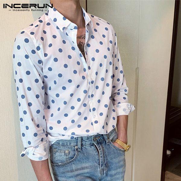 INCERUN Camicia a pois Uomo Manica lunga Colletto rovesciato in cotone Moda 2019 Chic Casual Top Camicie di marca da uomo Camisa