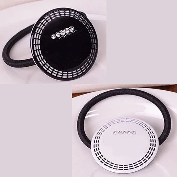 4X4CM black and white acrylic C style Disc head rope with drill rubber band hair clips headdress Counter gift 4pcs/lot