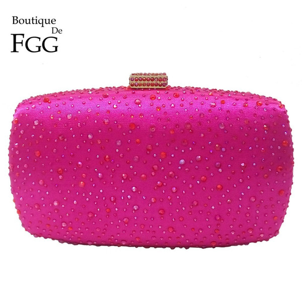 Hot Pink Fuchsia Crystal Diamond Women Evening Purse Minaudiere Clutch Bag Bridal Wedding Clutches Chain Handbag