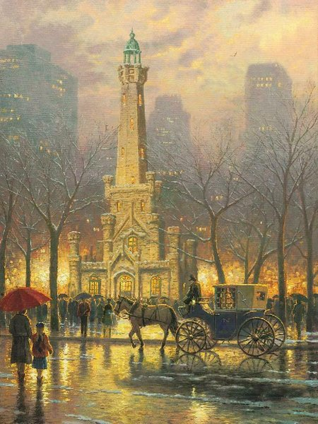 Thomas Kinkade ~ Chicago The Water Tower Ev Dekorasyonu Handpainted HD Yağ On Tuval Wall Art Canvas Resimler 200.123 Boyama yazdır