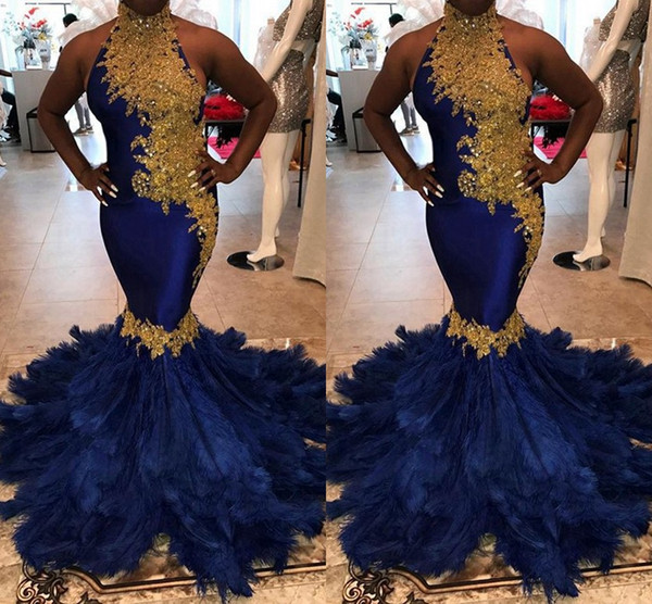 Expensive Feathers Blue With Gold Evening Prom Dresses Mermaid 2019 Beaded Sequin High Neck Backless Formal Elegant Evening Gowns Women