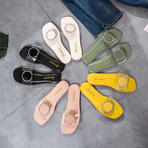 Wedge Heel Summer Ladies Rubber Slippers Babouche Modis Slides Sandal Low Female Transparent Leather New 2019 Male Beach Shoes