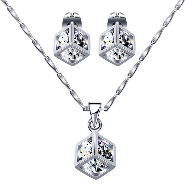 Fashion White Crystal Stone Wedding Jewelry Sets For Brides Silver