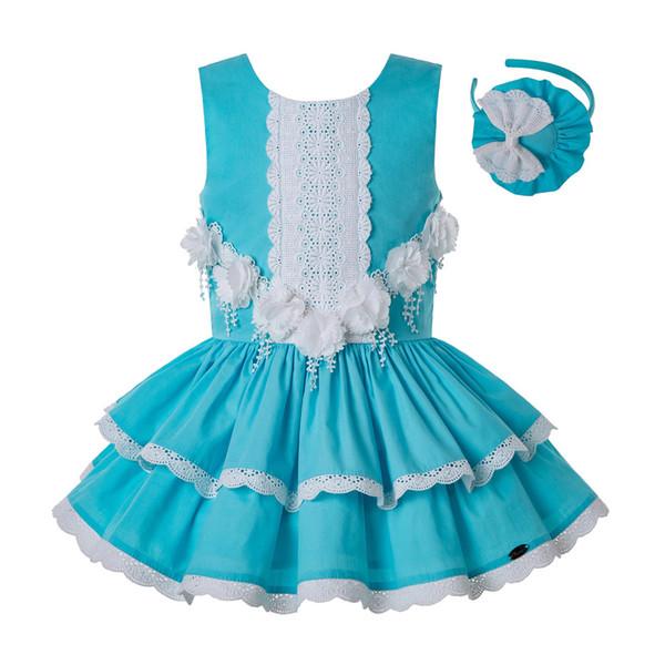 Pettigirl Summer for Girls Knee Lace Dress Children Princess Wedding Party Elegant Porno Frocks Kids Clothes G-DMGD203-34