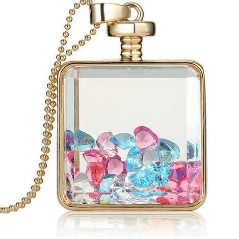 2019 Fashion memory glass locket pendant necklaces trendy crystal charms inside bottle Jewelry Necklace women Gift free shipping