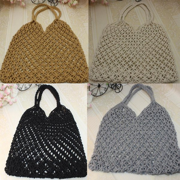 30pcs 2019 New Net Totes Women Straw Handbag Hollow Reticulate Open Beach Bag Fashion Summer Beach Bag