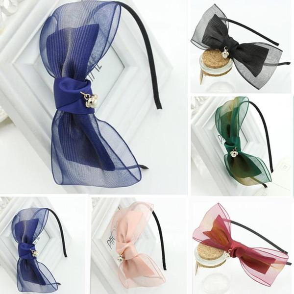 Women Organza Bowknot Headbands Chiffon Bow Knot Pearl Hair Hoops Fashion Hairbands Lady Girls Hair Accessories