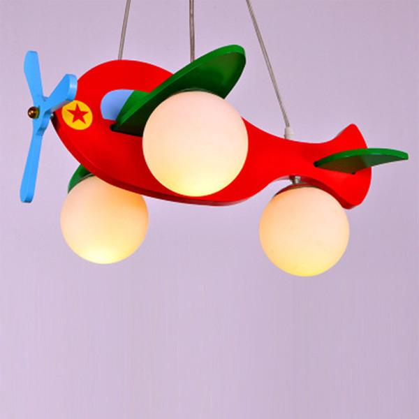 Modern Kid's Bedroom Wooden Airplane Pendant Lamp Children's Study Room Plane Model Pendant Lights Dining Room Hanging Light