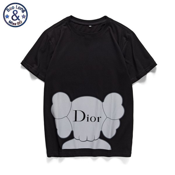 New men's and women's summer t-shirts co-branded color reflective print black and white mens designer t shirts S-2XL