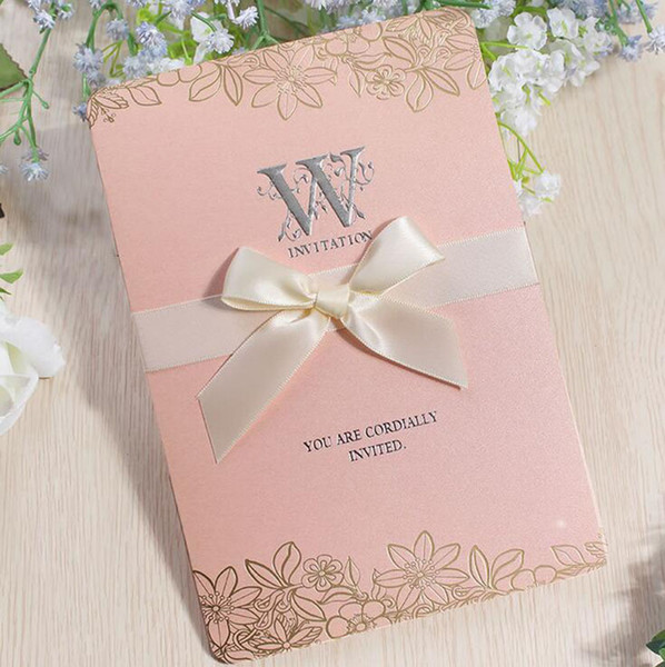 Nuevo sobre de la tarjeta de invitación de boda 2019, página interna, cubierta de cinta 4PCS / Juego de papel de perla Invitaciones de alta calidad para tarjetas Invitación comercial