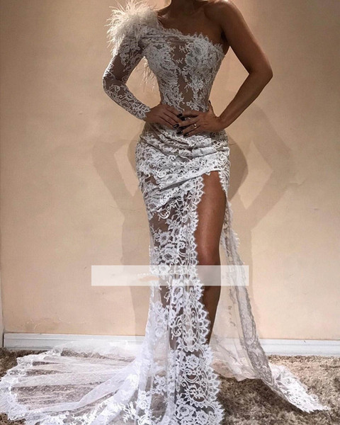 Сексуальные платья выпускного вечера с высоким разрезом Русалка Длинные элегантные перья на одно плечо Кружевное платье выпускного вечера Custom Make Party Dress Vestidos De Gala