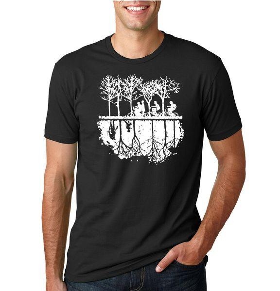 Baş Aşağı Bisiklet Siluet Yabancı Fan Erkek T-Shirt Grafik TV Tee