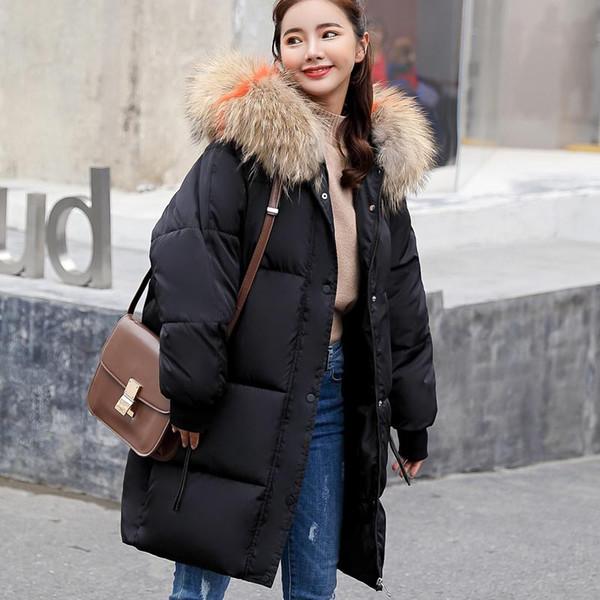 New autumn winter Women ladies removable fur hoodie long Down jacket Cotton thick Parkas Female Long warm clothing coat