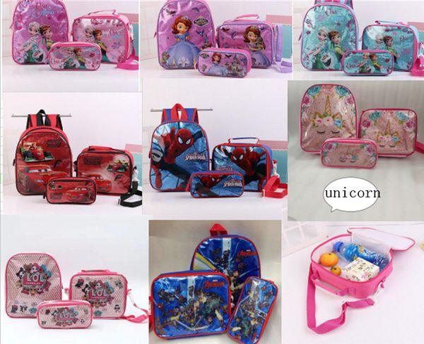 Designer School Backpacks Kids Cartoon Shoulder Bags Surprise Girls Unicorn Lunch Totes Stationary Case Pencil Bags Coin Wallet Purse B71004
