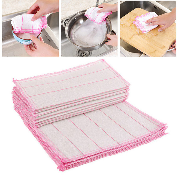 30*30cm Simple Kitchen Cleaning Cloths Cotton Yarn Dish Towel Multifunction Car Wash Duster Cloth Pot Pan Cleaning Wiping Rags