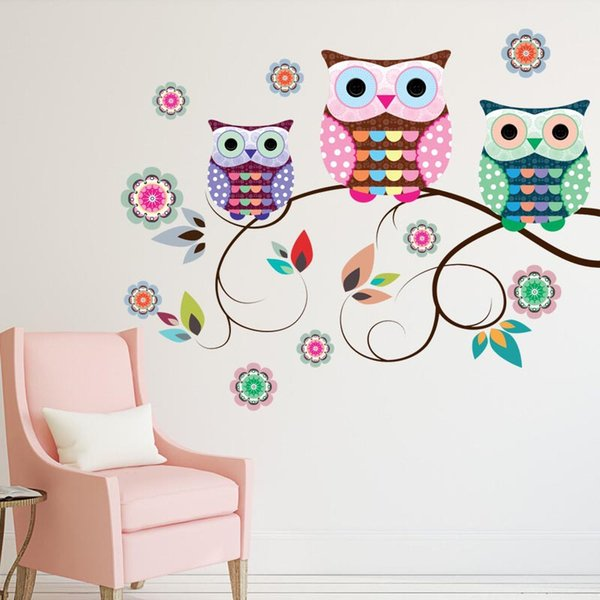 New Colorful Owls on the Tree Branches Wall Stickers for Kids Room Living Room Bedroom Waterproof Removable Art Decal Stickers