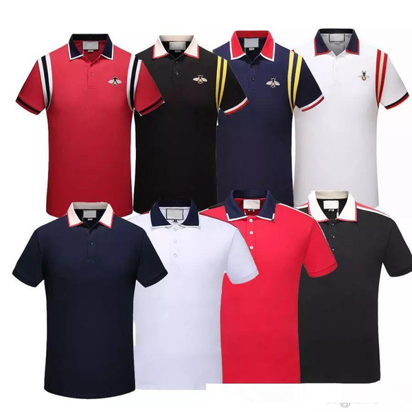 Wholesale 19ss Luxury designer brand Embroidery t shirts For men Italy Fashion polos High Street Snake Little Bee Tiger Mens Polo shirt