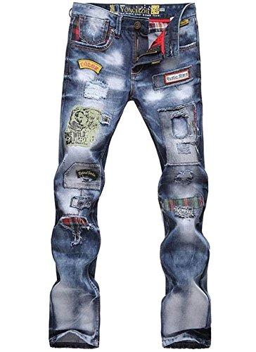 Mens and Boys Torn Patched Holey Washed Words Washed Straight Leg Casual Denim Jeans