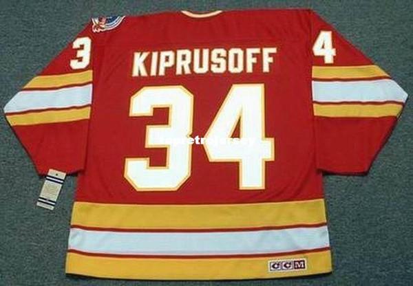 Wholesale Mens MIIKKA KIPRUSOFF Calgary Flames 1989 CCM Vintage Away Cheap Retro Hockey Jersey