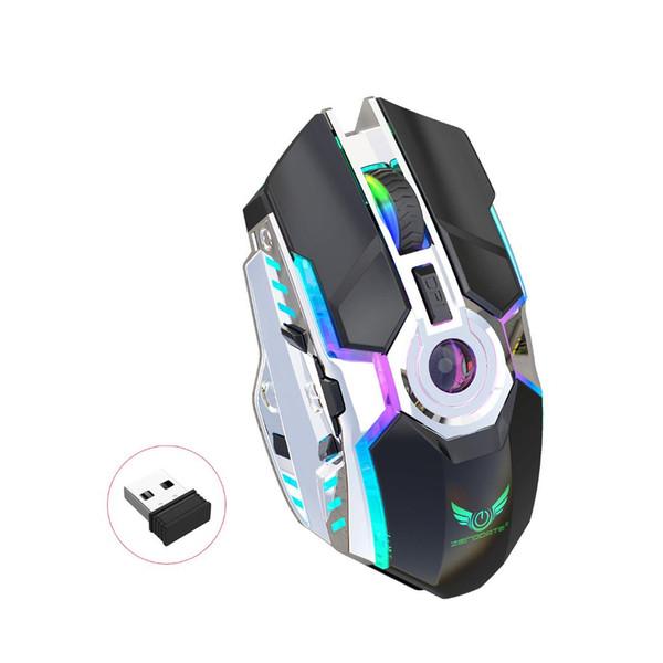Новый стиль Chargeable RGB Сияющий Беспроводная мышь 2.4G мышь Эргономичный дизайн Поддержка поколения жира