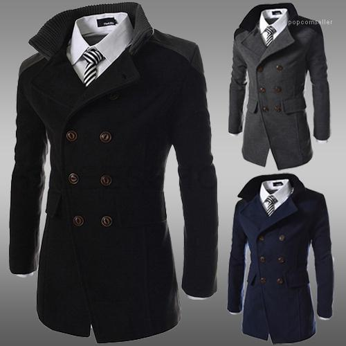 best selling Fashion Lapel Neck Thick Winter Mens Coat Double Breasted Long Sleeve Mens Cloth Mens Designer Coats