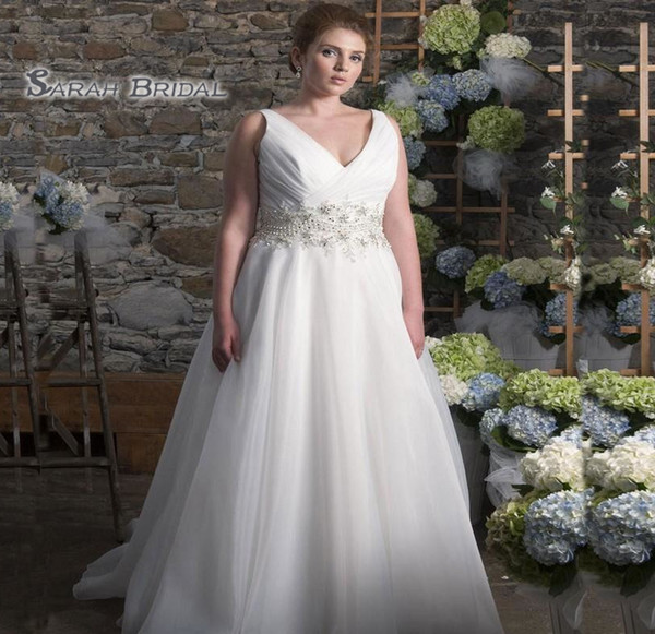 top popular 2019 Simple Long White Chiffon A-Line Bride Dress Sexy Plus Size Evening Wear Formal Gown High-end Wedding Boutique 2020