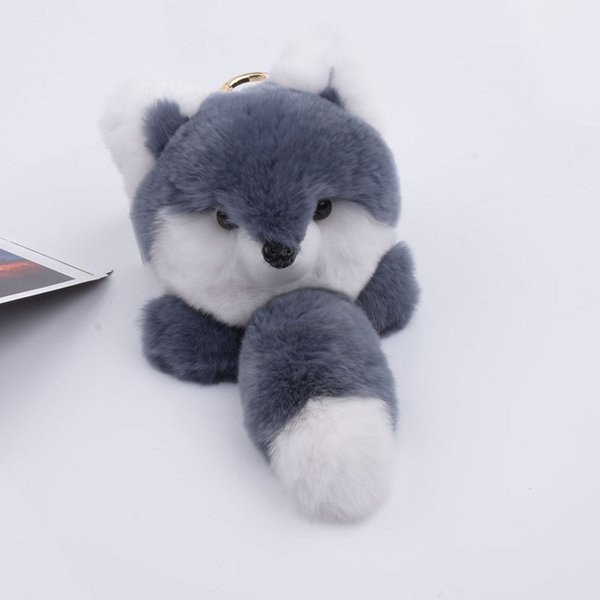 Rex Rabbit fur Keychain fashion Soft Fur fox Key ring bag Pendant gift car pendant car accessories key rings plush toy