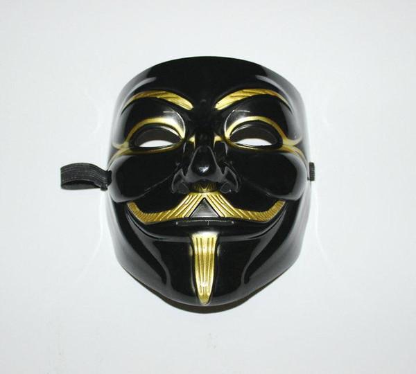 Al por mayor-Negro V Máscara Hombre adulto Anónimo de Halloween V Vendetta Película Máscara de traje negro Guy Fawkes Anónimo Halloween Fiesta Cosplay + B