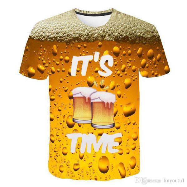 Summer 2019 men's clothing brand o-neck clock jacket beer short-sleeved 3d t shirt digital printing T-shirt Homme large size