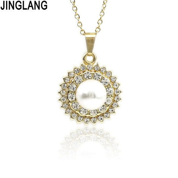JINGLANG Fashion Round Necklace for women Imitation pearls Necklace Jewelry accessories girlfriend gift