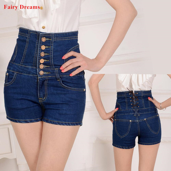 Women Jeans High Waist Feminino Lace Up Woman Plus Size Clothing 4XL Blue Black Gray Summer Style Denim Shorts 2018 Fairy Dreams