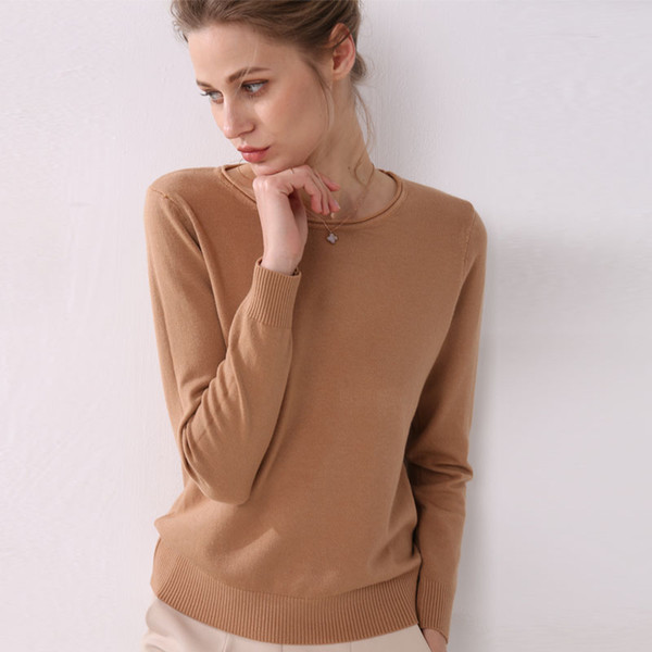 Pull femme à tricoter manches longues bouclé col rond femme court Casual Casual pull mince de la mode